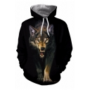3D Wolf Pattern Long Sleeves Relaxed Fit Black Drawstring Hoodie