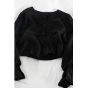Elegant Ladies' Plain Long Sleeve Round Neck Button Front Ruffled Trim Relaxed Short Blouse Top