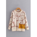 Girls Funny Cats Printed Long Sleeves Crewneck Apricot Pullover Sweater Knitwear