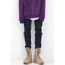 Hip Hop Plain Black Shredded Destroyed Zipper Front Skinny Jeans for Men