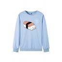 Fancy Sushi Cat Pattern Long Sleeves Round Neck Loose Pullover Sweatshirt