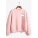 Womens Cute White Cat Pattern Long Sleeve Loose Fit Pullover Sweatshirt