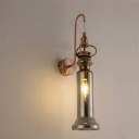Contemporary 2-Light Wall Sconce Smoke Gray/Amber Glass Tube Wall Lamp with Gooseneck Arm in Copper Finish