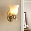 1/2-Bulb Wall Mount Lighting with Bell Shade White Glass Classic Stylish Bedroom Wall Sconce in Brass