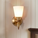 1-Light Tapered Wall Light Vintage Stylish White Glass Wall Sconce Fixture in Gold for Bedroom