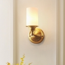 1 Light Sconce Light with Cylindrical Shade Milk Glass Modern Style Living Room Wall Mounted Lamp in Brass
