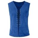 Steampunk Style Plain V-Neck Sleeveless Lace-up Retro Gothic Vest WaistCoat