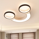 Arc Flush Mount Fixture Modern Acrylic Black-White LED Ceiling Lamp in White Light/Remote Control Stepless Dimming