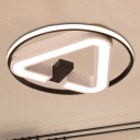 Acrylic Triangle Flush Mount Lamp Modernism Black-White 19