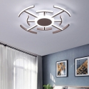 Radial Ceiling Light Fixture Contemporary Acrylic White LED Flush Mount in Warm/White Light, 23.5