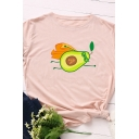 Cute Letter A Cartoon Avocado Superman Printed Roll-Up Short Sleeve Simple T-Shirt