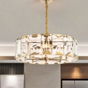 6 Heads Drum Chandelier Lighting Traditional Gold Crystal Panel Hanging Ceiling Light