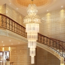 5 Layers Clear Crystal Rod Chandelier Lighting Traditional 12 Heads Stairway Hanging Lamp Kit