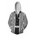 White and Black Vertical Stripe 3D Print Long Sleeve Zip Up Leisure Cosplay Hoodie