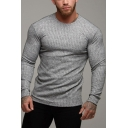 Mens Sport Plain Ribbed Knit Long Sleeve Round Neck Slim Basic Pullover Sweater