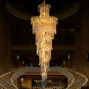 Modern Spiral Chandelier Lighting Fixture Crystal 16 Lights Corridor Pendant Lamp in Gold