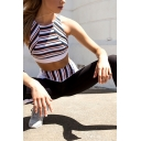 Hot Fashion Stripe Patchwork Cutout Back Tank Top Skinny Sweatpants Two Piece Sports Suit
