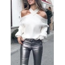 White Stylish Long Sleeve Cold Shoulder Halter Rolled Edge Baggy Purl-Knit Pullover Sweater for Ladies