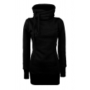 Womens Leisure Plain Long Sleeve Funnel Neck Slim Fit Thick Hoodie