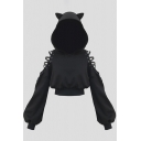 Edgy Girls Black Cute Cat Ear Lace-Up Cold Shoulder Lantern Long Sleeve Cropped Hoodie