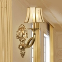 Printed Opaque Glass Wall Mounted Lamp Vintage 1/2-Head Flared Sconce Light with Gold Swooping Arm