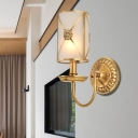 Vintage Swag Arm Candle Wall Mount Lamp 1/2-Light Metal Golden Sconce Light Fixture