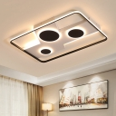 Rectangle Ceiling Mounted Light Modern Acrylic Black-White LED Flush Light in Remote Control Stepless Dimming/Warm/White Light