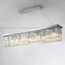Rectangle Crystal Island Pendant Light Modern Style 6 Lights Silver Hanging Lamp for Dining Room