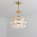 Tiered Crystal Pendant Chandelier Modernist 3 Bulbs Brass Suspended Lighting Fixture with Adjustable Metal Chain