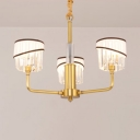 Modernism 3 Heads Chandelier Lighting Brass Cylinder Hanging Celing Light with Crystal Shade