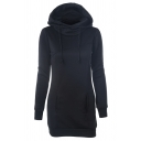 Womens Stylish Long Sleeve Whole Colored Longline Drawstring Hoodie with Pocket