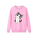 Cute Girls' Street Long Sleeve Crew Neck Kitty Patterned Boxy Daily Pullover Sweatshirt