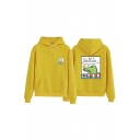 Cute Fashion Long Sleeve Drawstring I'LL BE A DINOSAUR Letter Dinosaur Print Kangaroo Pocket Loose Fit Hoodie for Girls