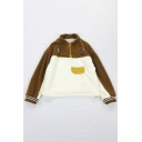 Winter Chic Embroidery Eye Pattern Colorblock Long Sleeve Half Zip Polar Fleece Sweatshirt