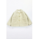 Cute Kawaii Girls' Bell Sleeve Lapel Collar Horn Button Down Pockets Side Plain Fluffy Thick Oversize Jacket