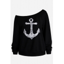 Women's Long Sleeve Drop Shoulder Cross Patterned Relaxed Fit Pullover Sweatshirt in Black