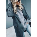 Dark Grey Fashion Long Sleeve Notch Lapel Neck Button Down Flap Pockets Midi Baggy Wool Coat for Women