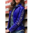 Cool Women Long Sleeve Lapel Collar Zipper Front Pockets Side Rivet Decoration Leather Plain Fitted Jacket