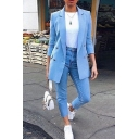 Formal Female Long Sleeve Notch Lapel Neck Double Breasted Flap Pockets Relaxed Fit Plain Work Blazer