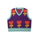 Girls Popular Contrast Color Cartoon Flower Pattern Sleeveless Oversized Knitwear Vest