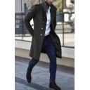 Cool Men's Plain Stand Collar Epaulets Long Sleeve Metal Buckle Decoration Longline Wool Coat