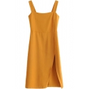 Elegant Ladies' Sleeveless Zipper Back Slit Side Midi A-Line Cami Dress in Yellow