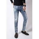 Mens Street Wear Leisure Zipper Fly Mid-rised Jeans Ripped Fitted Denim Pants