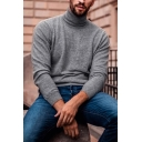 Casual Popular Solid Color Turtle Neck Long Sleeve Loose Fit Pullover Sweater for Men