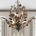 Branching Metal Chandelier Light Farmhouse 8 Lights Rust Ceiling Lighting Fixture