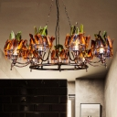 Iron Circular Chandelier Lamp Indian Style 9-Head Copper Finish Suspension Pendant with Feather Headwear Element