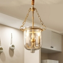 Colonialism Candle Hanging Pendant 3 Heads Clear Glass Chandelier Lighting Fixture for Kitchen