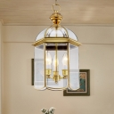 3 Lights Chandelier Pendant Light Colonial Lantern Clear Glass Suspension Lamp for Balcony