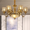 Gold Cup Chandelier Light Colonization Frosted Glass 6/8 Bulbs Living Room Suspension Pendant Light
