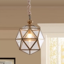 Single Bulb Geometric Pendant Light Colonial Clear Glass Hanging Lamp for Bedroom